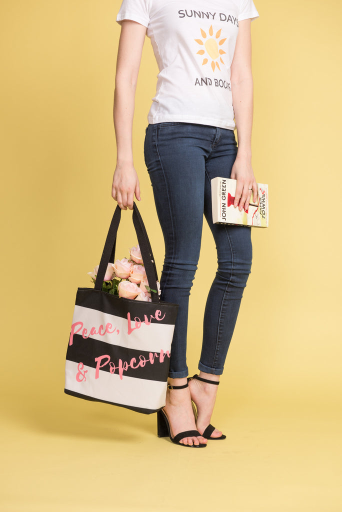 Peace, Love & Popcorn Tote bag