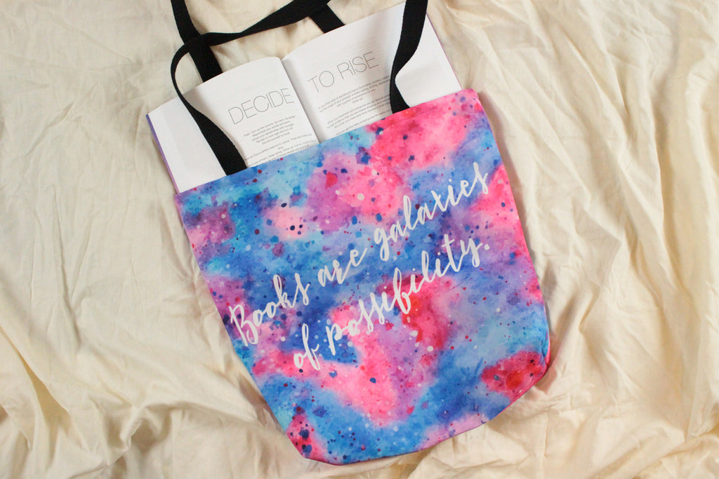 Books are Galaxies: Tote bag