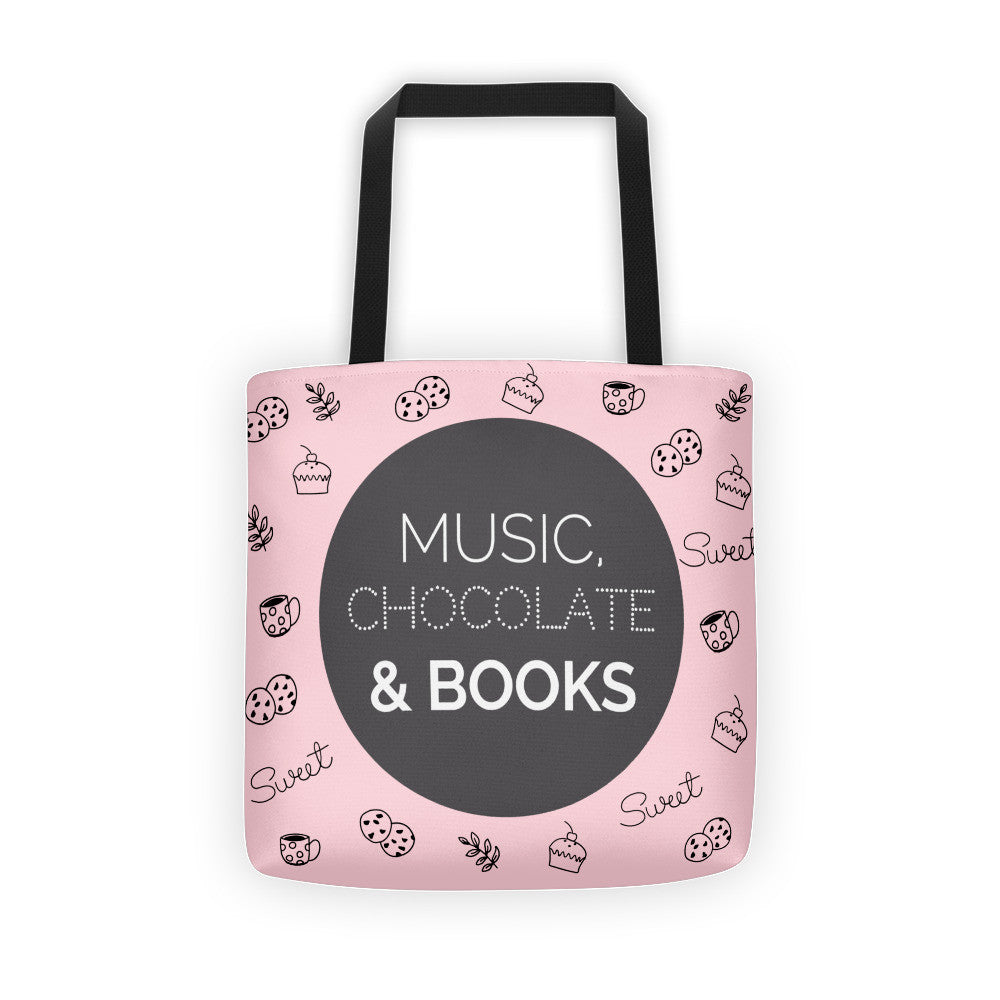 Music, Chocolate & Books: Pink Tote bag