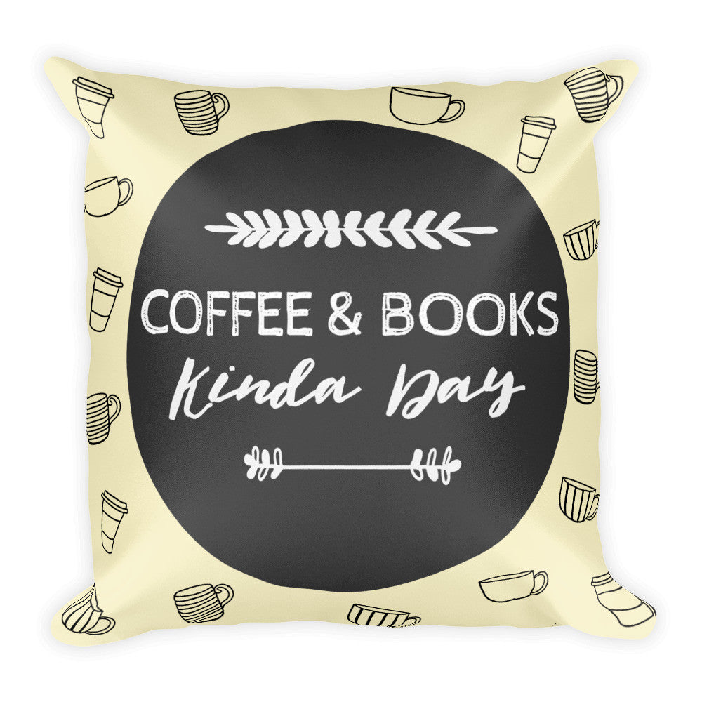 Coffee & Books: Square Pillow