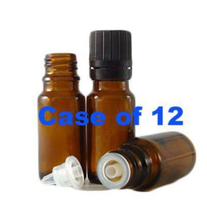 0.33 Oz Amber Round Glass Bottles With Dropper Tops & Caps 12 Pack Bottles