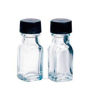 1 Dram (0.125 Oz.) Clear Square Glass Bottles With Caps 24 Pack Bottles