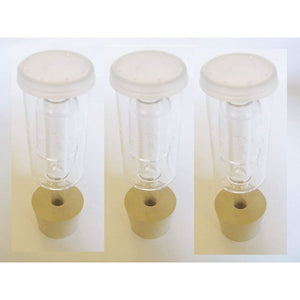 3Ct. - 3 Piece Airlock With #6.5 Drilled Stopper - Set Of 3 (Cylinder Airlock) Bundle