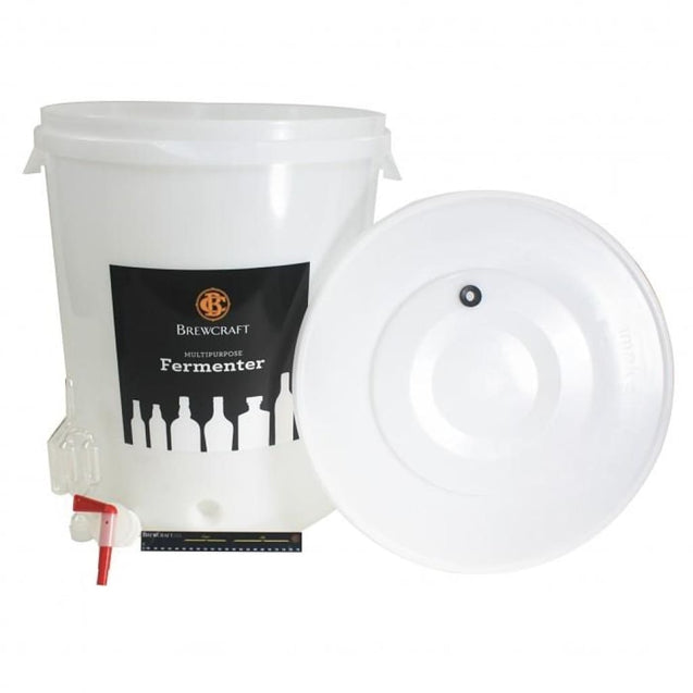 8 Gallon Brewcraft Fermenter Kit Lid With Hole With Tap Thermometer & Airlock Fermenter Buckets