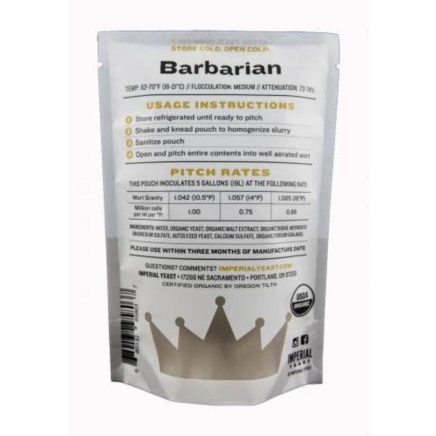 A04 Barbarian Imperial Organic Liquid Yeast Imperial Organic Yeast