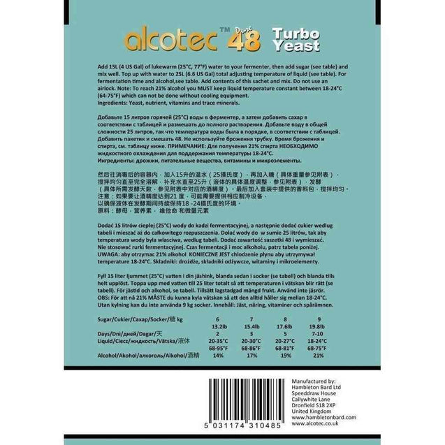 Alcotec 48-Hour Turbo Yeast Turbo Yeast