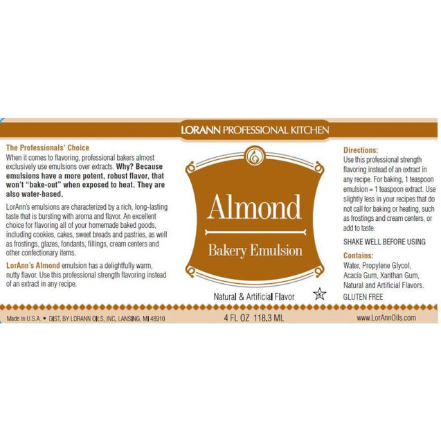 Almond Bakery Emulsion By Lorann Flavor Oils Spices And Flavorings