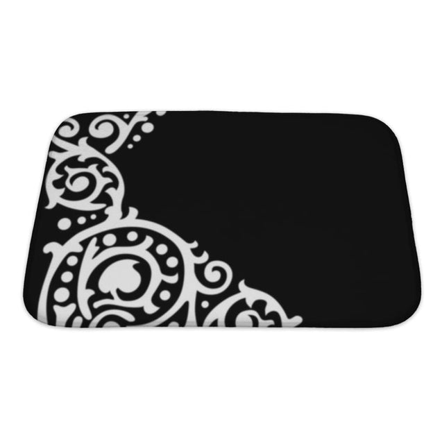 Bath Mat White Patterned Corner On Black Bath Mat