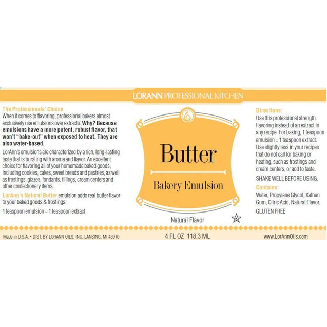 Butter (Natural) Bakery Emulsion By Lorann Flavor Oils Spices And Flavorings