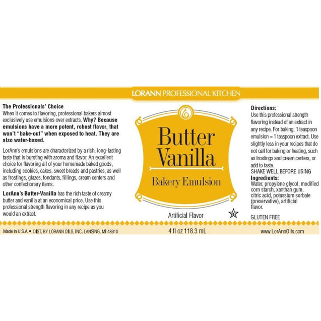 Butter Vanilla Bakery Emulsion By Lorann Flavor Oils Spices And Flavorings