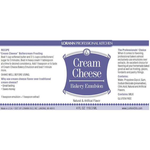 Cream Cheese Bakery Emulsion By Lorann Flavor Oils Spices And Flavorings