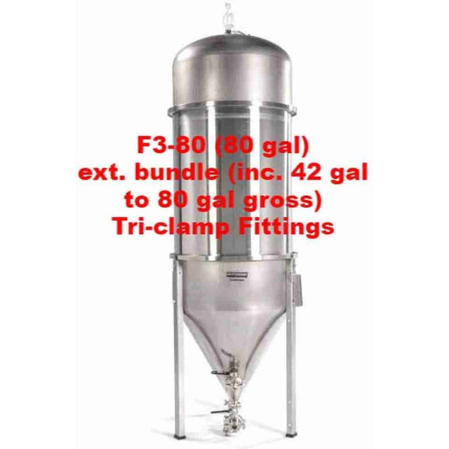 Fermenator Conical - Tri-Clamp Fittings F3-80 (80 Gal) Ext. Bundle (Inc. 42 Gal To 80 Gal Gross) - Tri-Clamp Fittings Blichmann Engineering