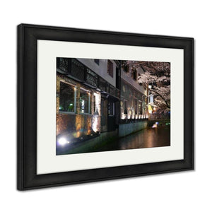 Framed Print Beautiful Sakura Season In Kyoto City Stree View With Nice Bridg Framed Print