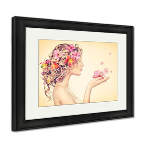 Framed Print Fantasy Art Beauty Girl Takes Beautiful Flowers Her Hands Framed Print