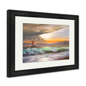Framed Print Oil Painting On Canvas Sailboat Against A Of Sea Sunset Framed Print