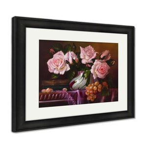 Framed Print Oil Painting With Flowers Roses Still Life Painting Framed Print