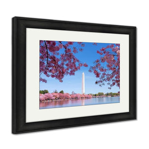 Framed Print Washington Dc Cherry Blossom With Lake And Washington Monument Framed Print