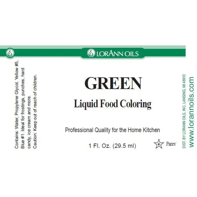 Green Liquid Food Color By Lorann Flavor Oils Spices And Flavorings