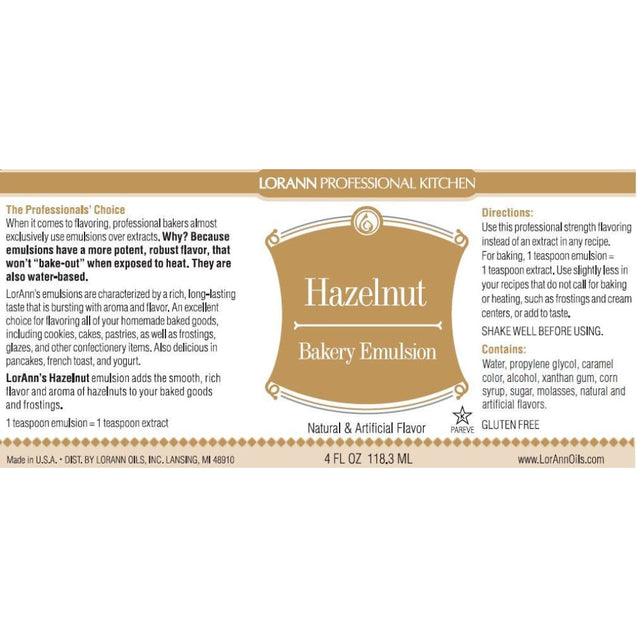 Hazelnut Bakery Emulsion By Lorann Flavor Oils Spices And Flavorings