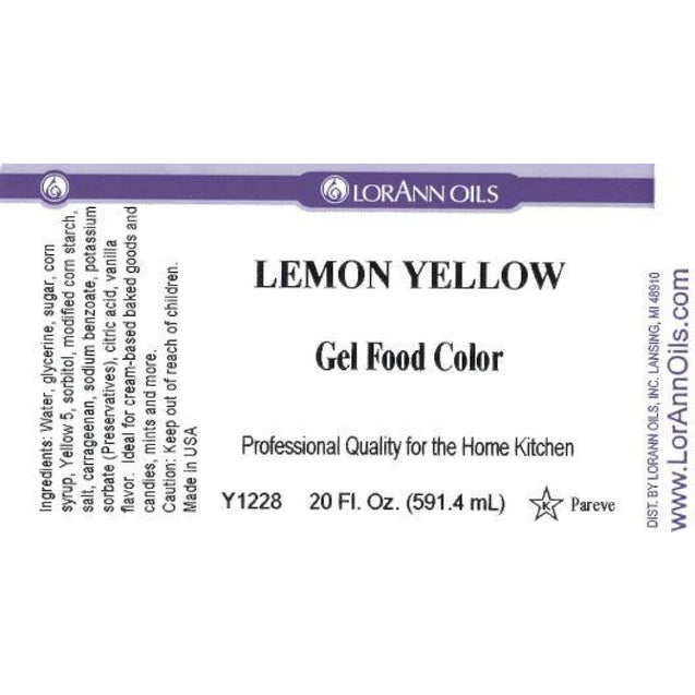 Lemon Yellow Gel Food Color By Lorann Flavor Oils 20 Oz Spices And Flavorings