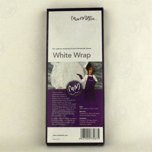 Mad Millie White Wrap 420 X 420 (10 Pack) Cheese Making