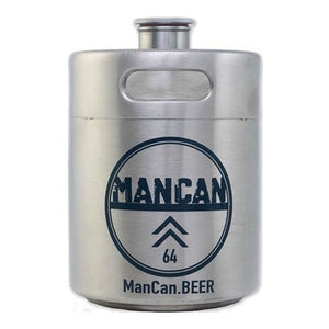 Mancan Mini Keg Growler (Stainless Steel) - 64 Oz Growlers