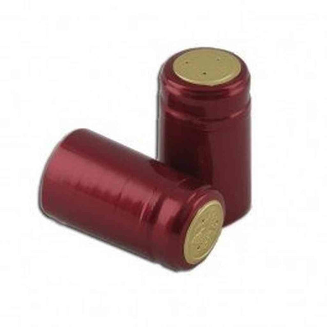 Maroon Shiny Pvc Capsules Bag Of 100 Pvc Shrink Capsules