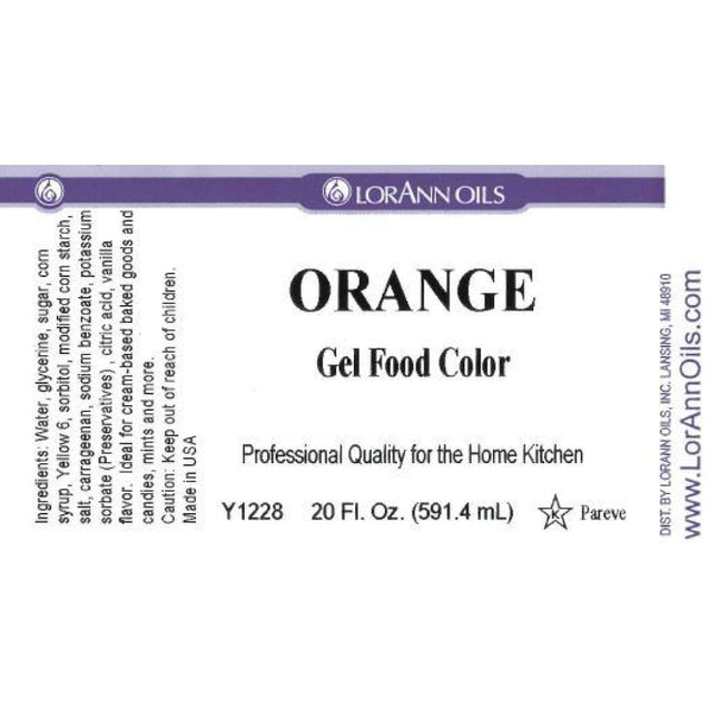 Orange Gel Food Color By Lorann Flavor Oils 20 Oz Spices And Flavorings