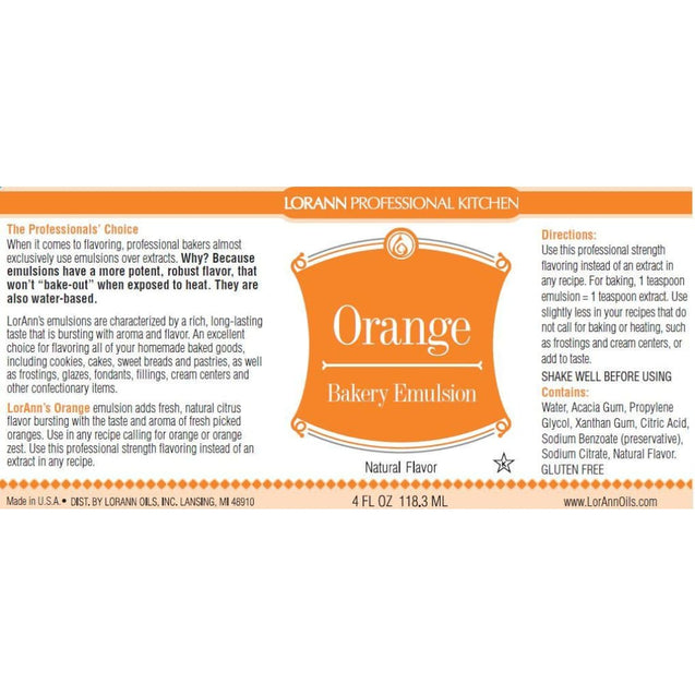 Orange (Natural) Bakery Emulsion By Lorann Flavor Oils Spices And Flavorings