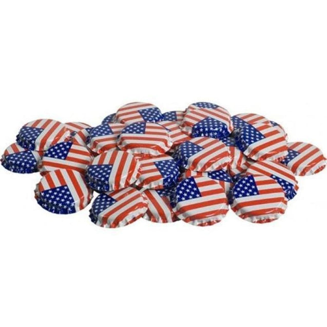 Oxygen Absorbing Beer Bottle Caps Crowns Qty 50 / American Flag Crown Bottle Caps