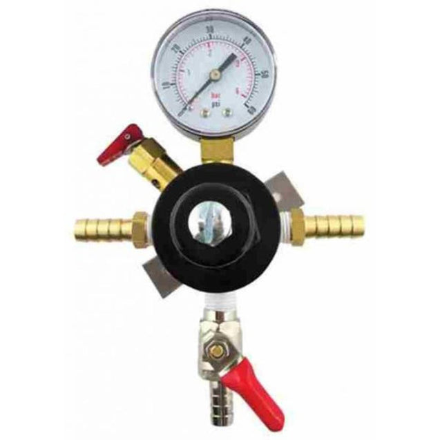 Pass Thru Secondary Co2 Regulator 5/16B In/out 5/16B Shutoff & 60 Lb Gauge Regulators And Gas Cylinders