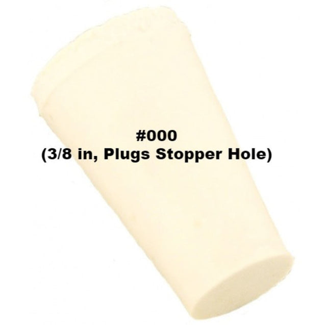 Tapered Solid Rubber Stopper Size 000 (3/8 In Plugs Stopper Hole) Rubber Stoppers