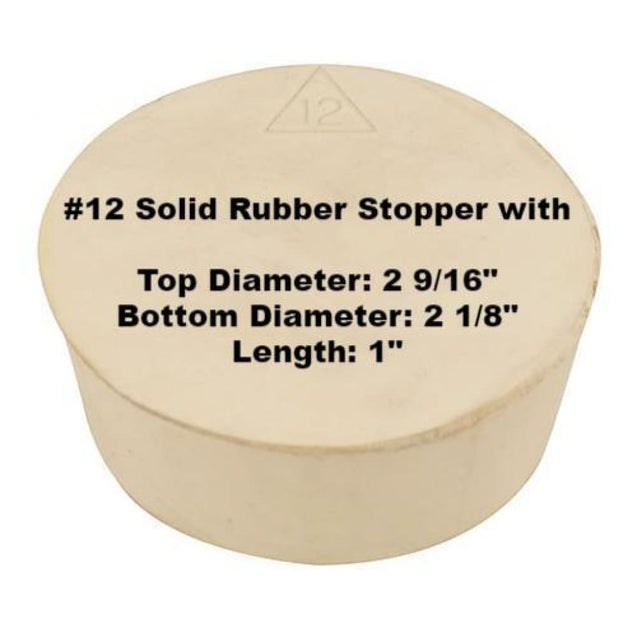 Tapered Solid Rubber Stopper Size 12 Rubber Stoppers