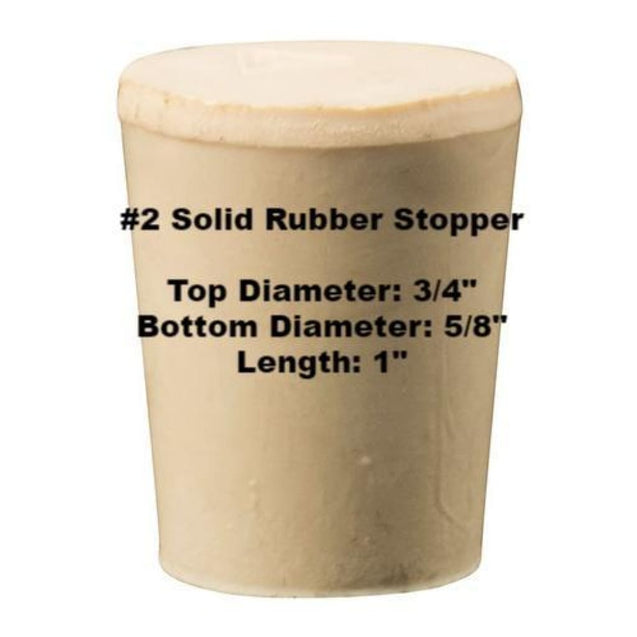 Tapered Solid Rubber Stopper Size 2 Rubber Stoppers