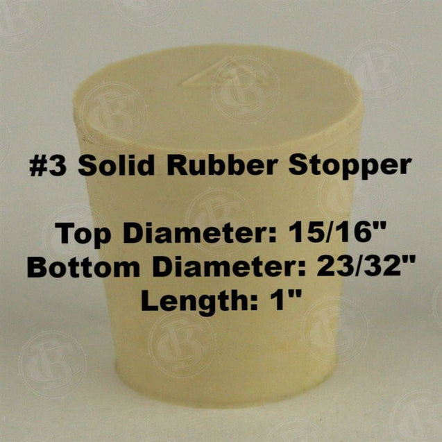 Tapered Solid Rubber Stopper Size 3 Rubber Stoppers