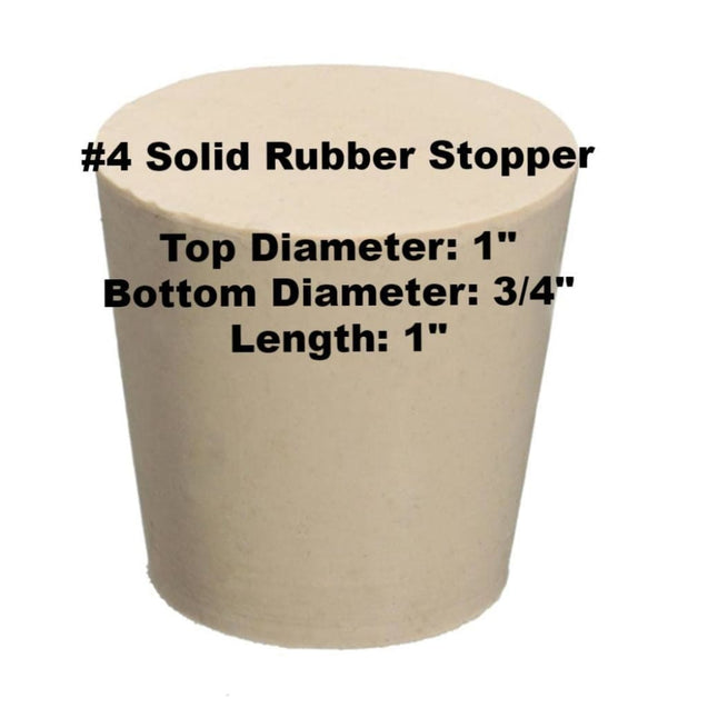 Tapered Solid Rubber Stopper Size 4 Rubber Stoppers