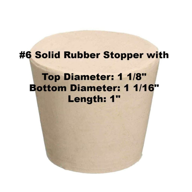 Tapered Solid Rubber Stopper Size 6 Rubber Stoppers