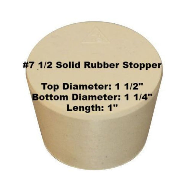 Tapered Solid Rubber Stopper Size 7 1/2 Rubber Stoppers