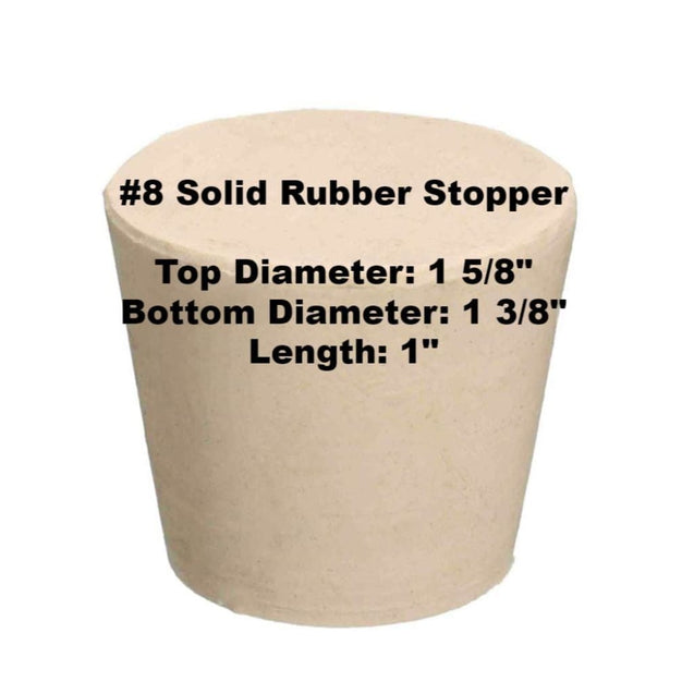 Tapered Solid Rubber Stopper Size 8 Rubber Stoppers