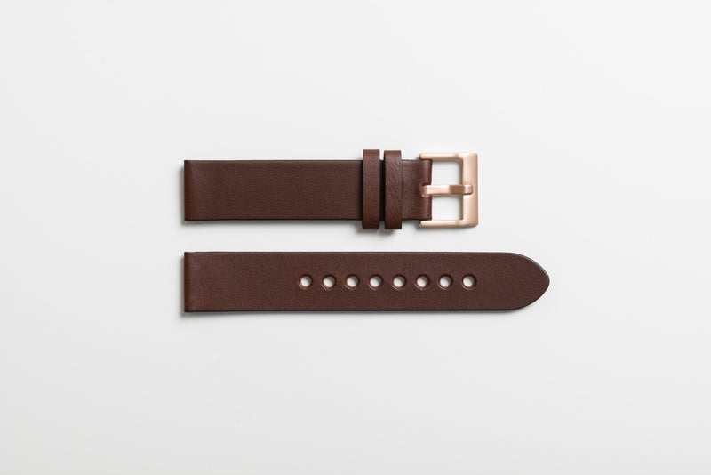 Instrmnt 01 Series In Rose Gold/Brown rubber strap