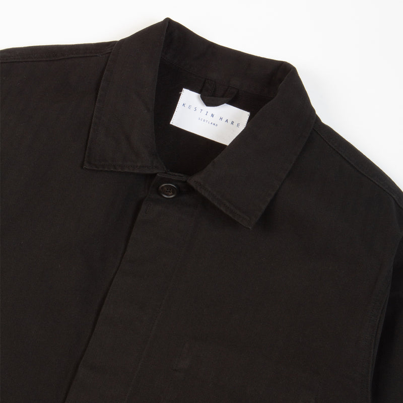 Kestin Hare Arbroath Shirt Jacket Black Herringbone Cotton collar detail