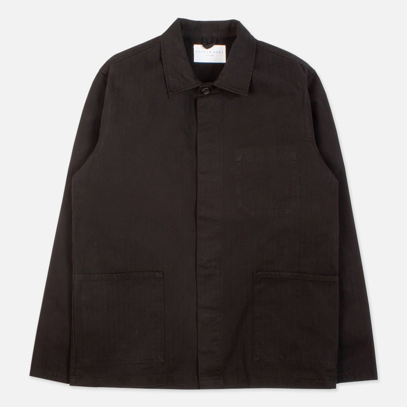 Kestin Hare Arbroath Shirt Jacket Black Herringbone Cotton