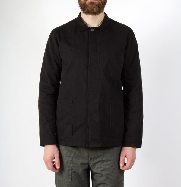 Kestin Hare Arbroath Shirt Jacket Black Herringbone Cotton worn
