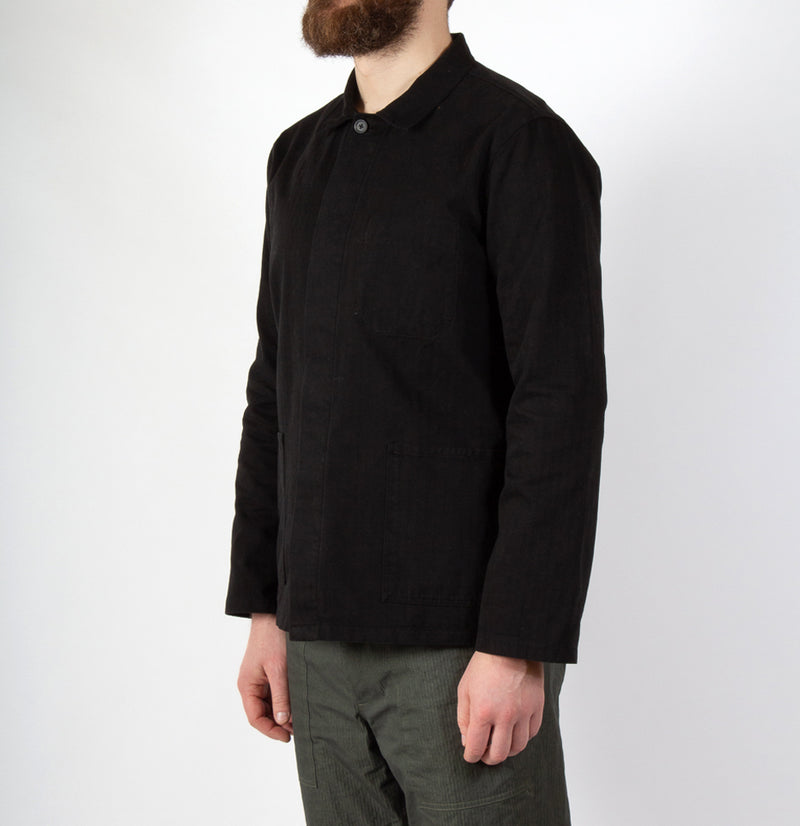 Kestin Hare Arbroath Shirt Jacket Black Herringbone Cotton worn side view