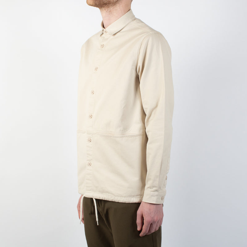 Kestin Hare Armadale Shirt Jacket In Ecru Brushed Cotton worn side view