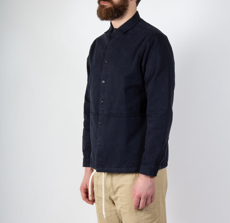 Kestin Hare Armadale Shirt Jacket Navy Brushed Cotton worn side view