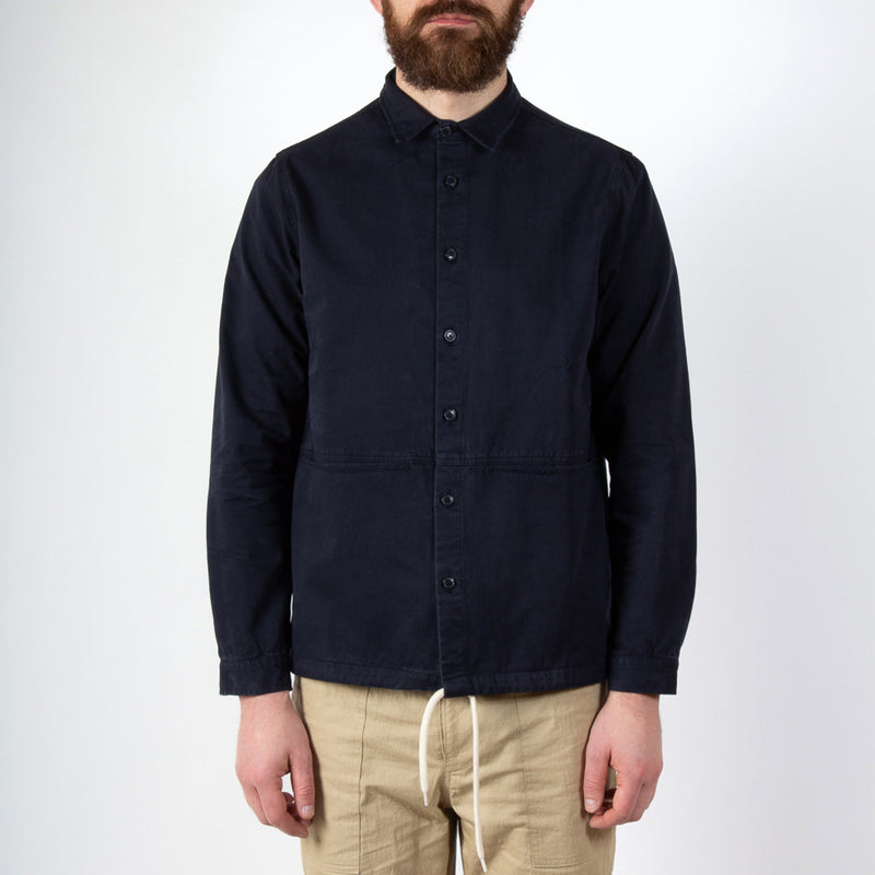 Kestin Hare Armadale Shirt Jacket Navy Brushed Cotton worn