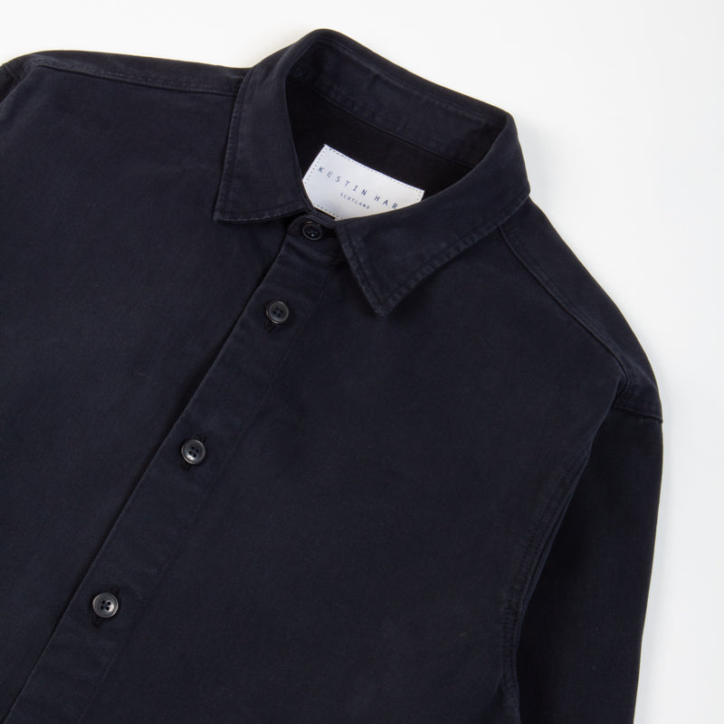 Kestin Hare Armadale Shirt Jacket Navy Brushed Cotton collar detail