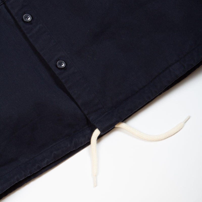 Kestin Hare Armadale Shirt Jacket Navy Brushed Cotton drawcord hem detail