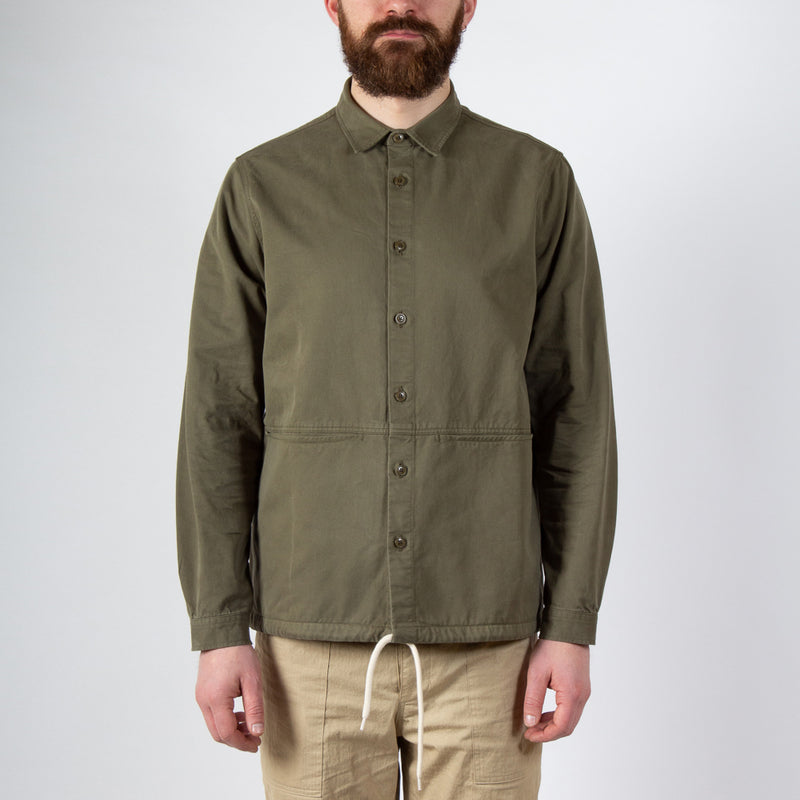 Kestin Hare Armadale Shirt Jacket Olive Brushed Cotton worn